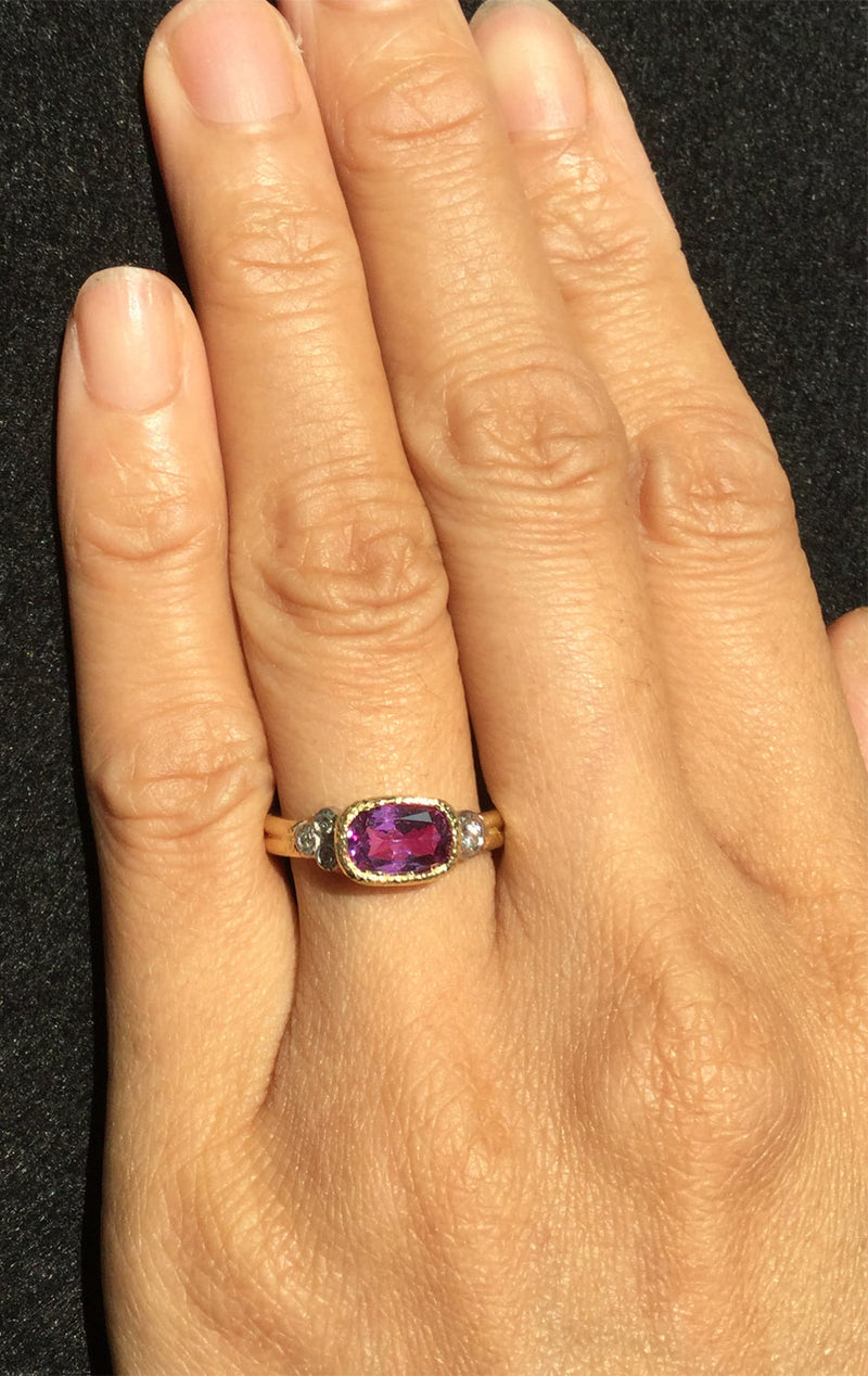 Delicate Double Band Raspberry Spinel Ring on hand