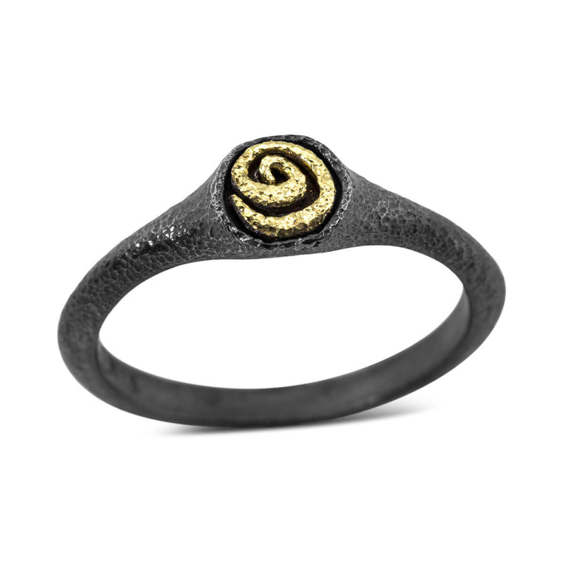 Tiny Spiral Signet Ring in gold and silver