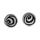 Oxidized sterling silver stud earrings with spiral design.