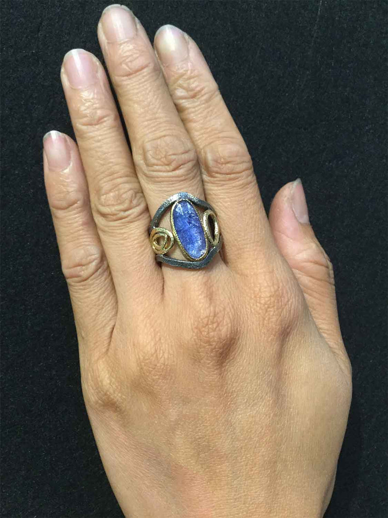 Mountain Stream Ring with Tanzanite on hand
