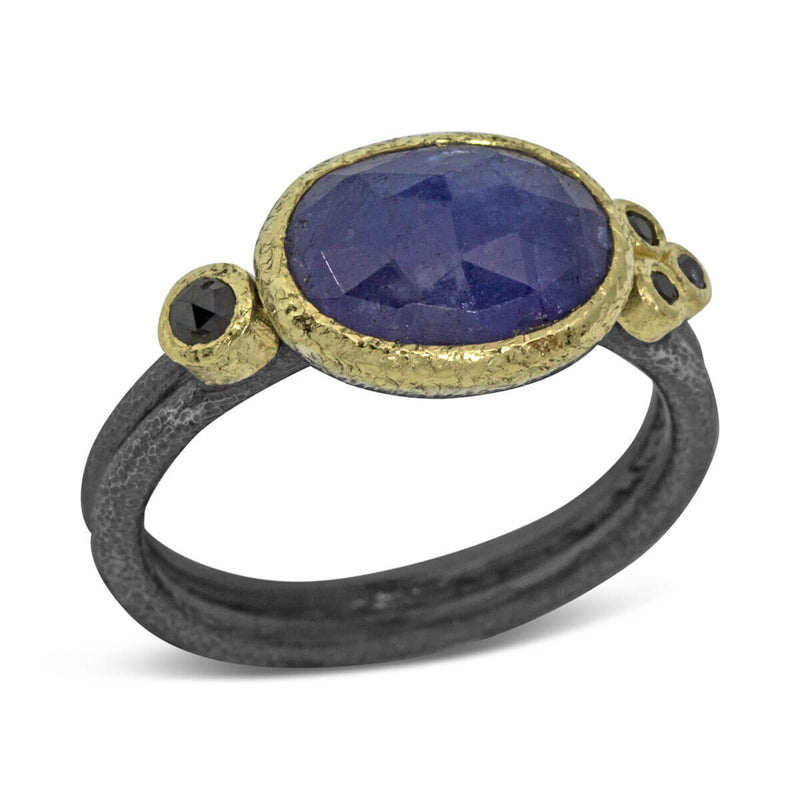 Delicate Double Band ring with free form tanzanite