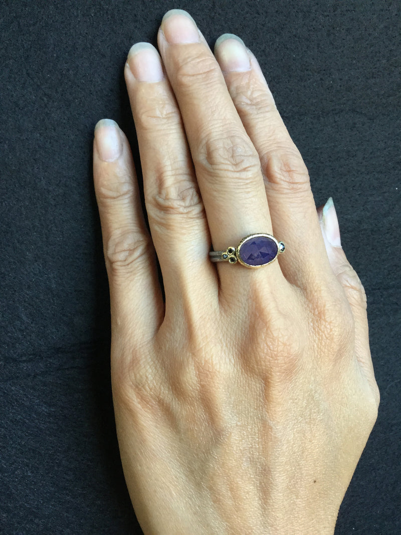 Delicate Double Band Tanzanite ring on hand