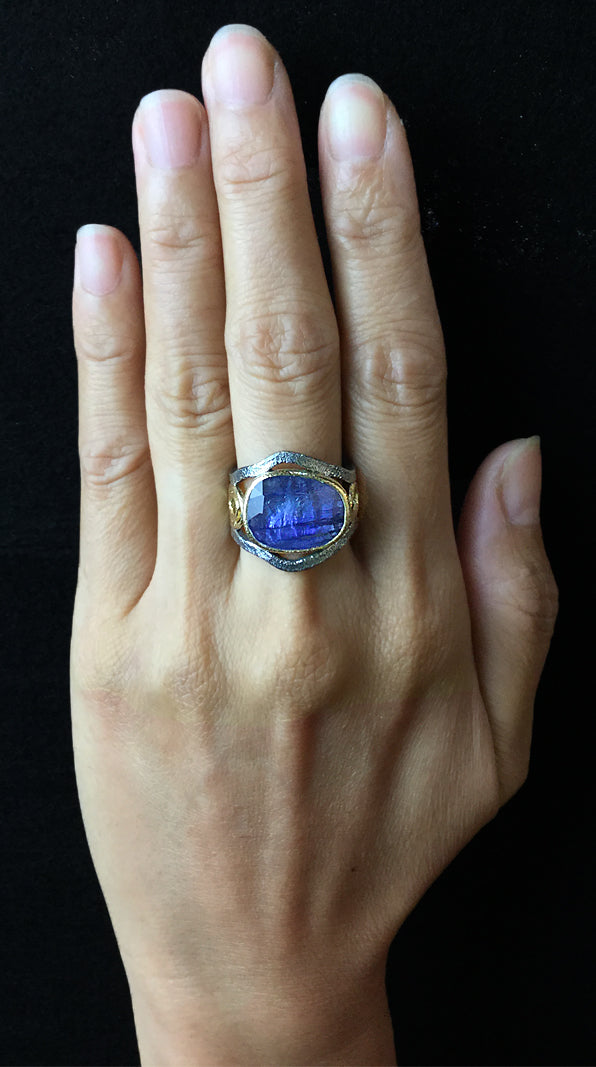 Mountain Stream Tanzanite Ring on hand