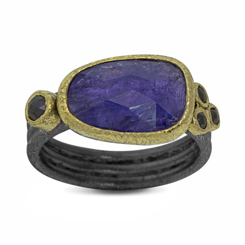 Delicate Triple Band ring with free form tanzanite