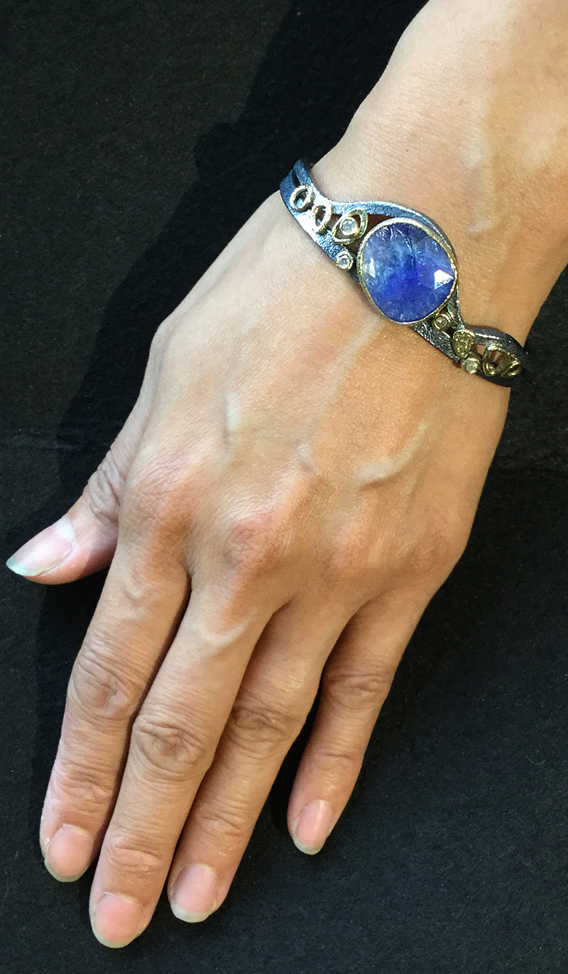 Double Cuff Bracelet with tanzanite on hand