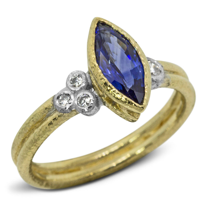 Custom Marquise Tanzanite Double Band Ring