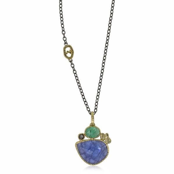 Tanzanite and Emerald Pendant with Black Diamond