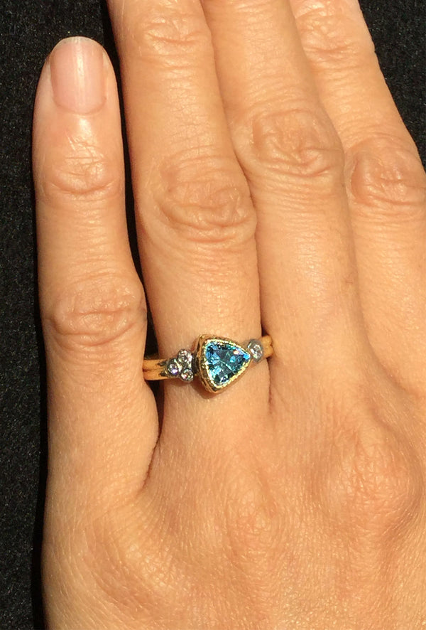 Double Band Blue Zircon Ring on hand