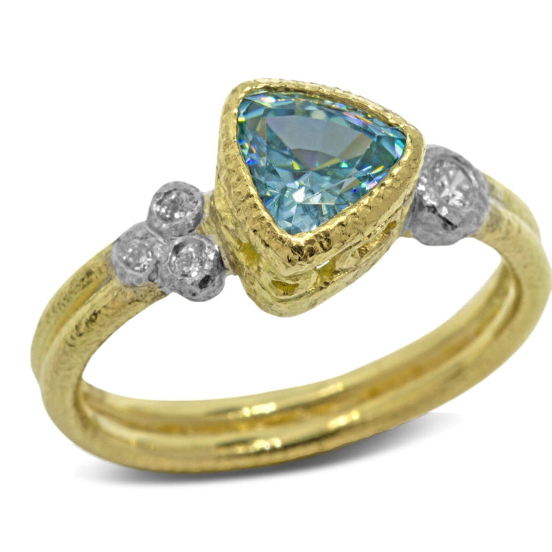 Trillion Blue Zircon Ring