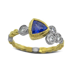 Skinny Pebbles Ring with Trillion Sapphire