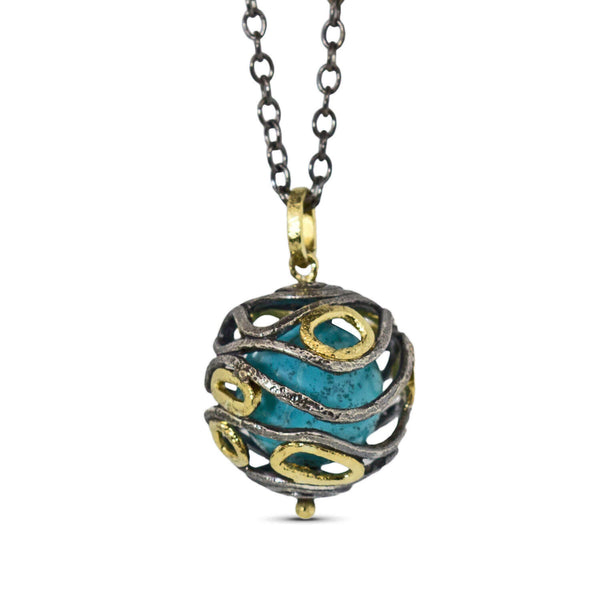 Undulations Pendant with Turquoise
