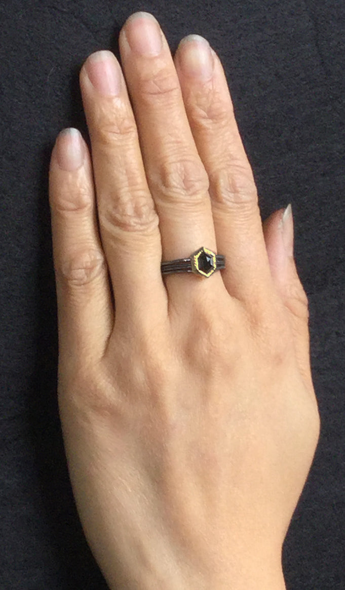 Wave Ring with Hexagonal Black Diamond worn on hand