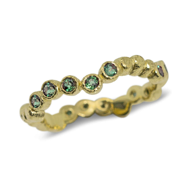 Wavy Pebbles Band with Blue Green Tourmalines