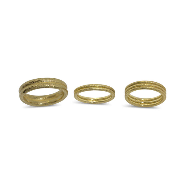 18k yellow gold wedding bands in various widths