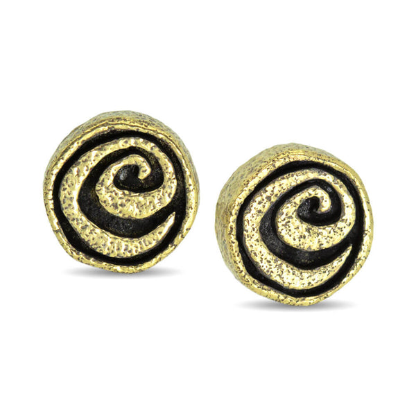Spiral stud earrings in 18k yellow gold