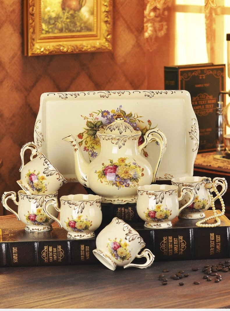 Classic Luxury Ivory Porcelain Tea Cups Set with Tray - My Pretty Kitchen