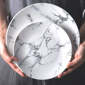 White Marble dinner plates ceramic - My Pretty Kitchen