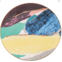 Gold Inlay Colorful Dinner Plate - My Pretty Kitchen