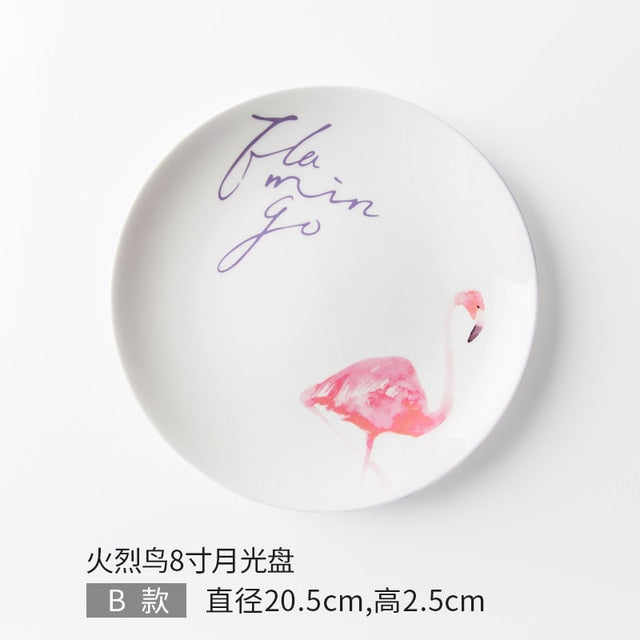 Pink Flamingo  Ceramic Dinner Plates - My Pretty Kitchen
