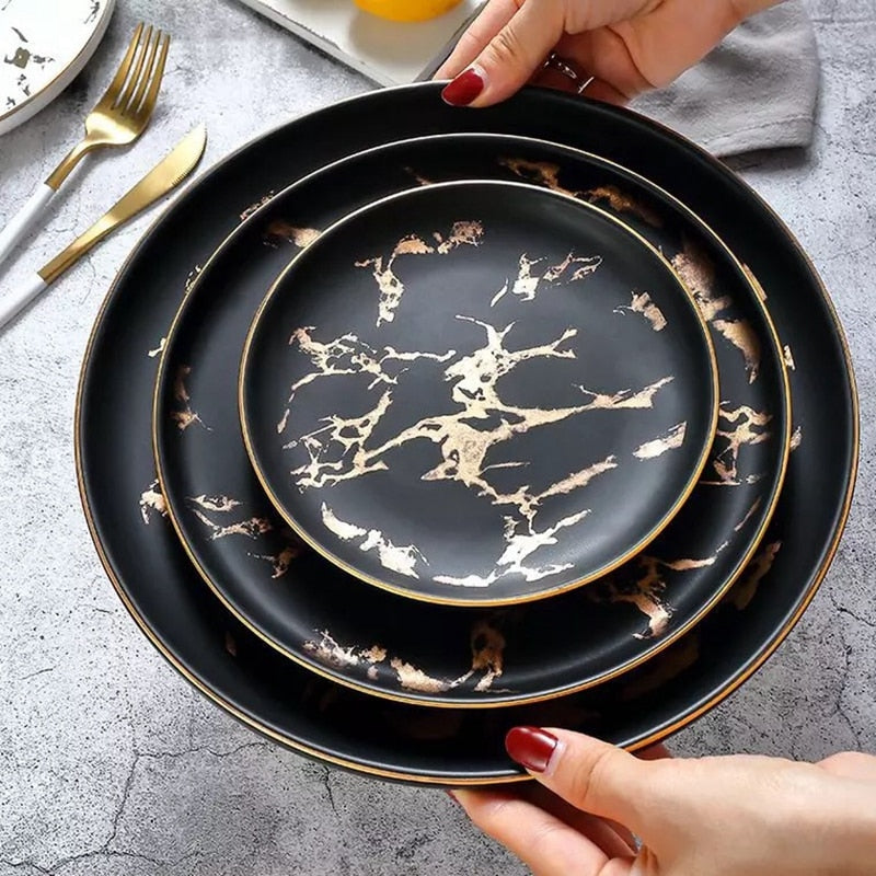 Gold Inlay Marble Dinner Plate - My Pretty Kitchen
