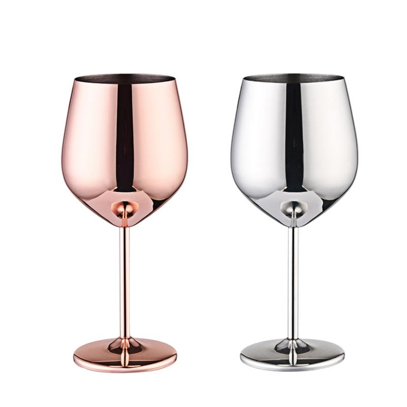Wine Glasses Silver and  Rose Gold Stainless Steel - My Pretty Kitchen