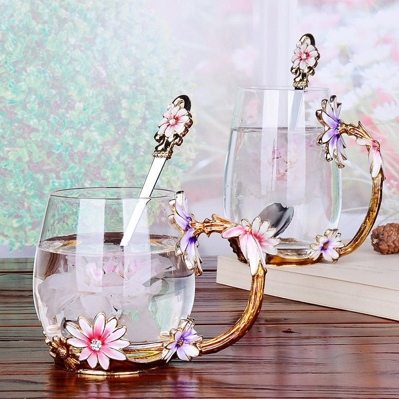 Vintage Enamel Glass Cups with crystal flower Handgrip - My Pretty Kitchen