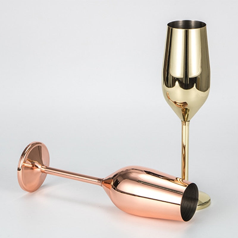 Wine Glasses Champagne Silver Rose Gold - My Pretty Kitchen