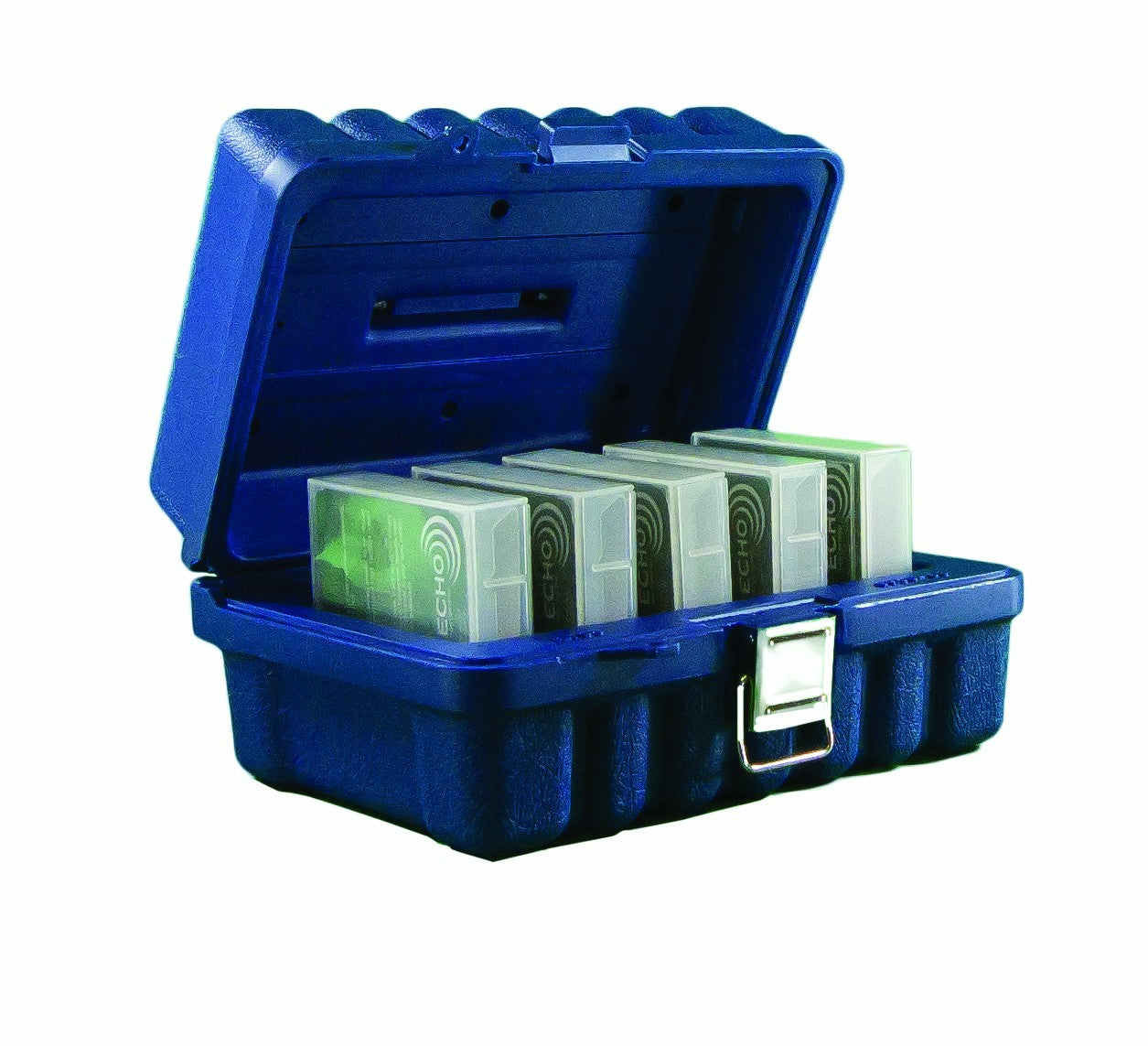 Blue plastic case holding 5 LTO cartridges in their plastic jewel cases