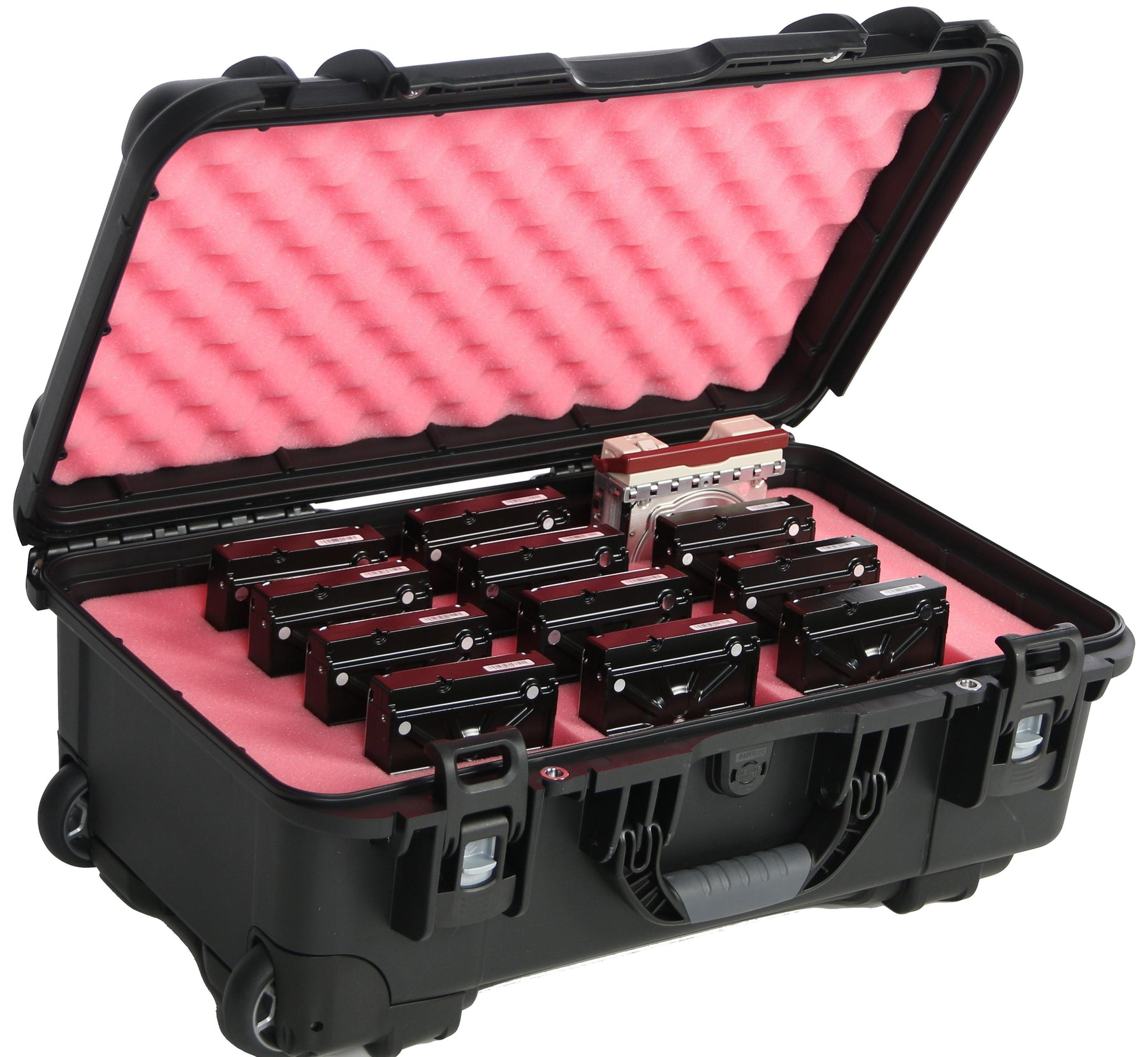 "3.5"" Hard Drive Waterproof Case - 12 Capacity (Wheeled)"