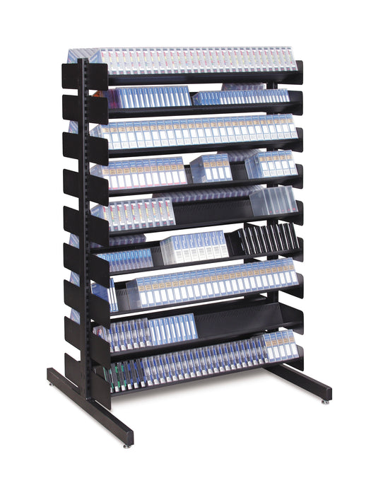 "54"" Double-Sided Media Storage Rack (16 Shelves)"