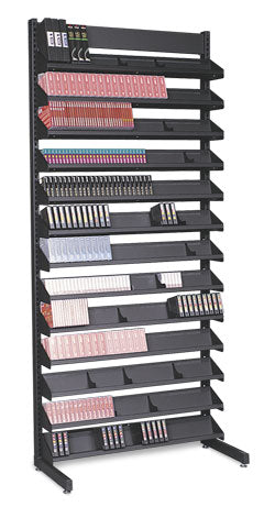"84"" Single-Sided Media Storage Rack (12 Shelves)"