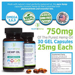 Hemp Oil Softgels for Pain, Anxiety, Stress Relief, Mood Support, Healthy Sleep, Skin Care (750mg, 25mg per Capsule, 30 Count) …