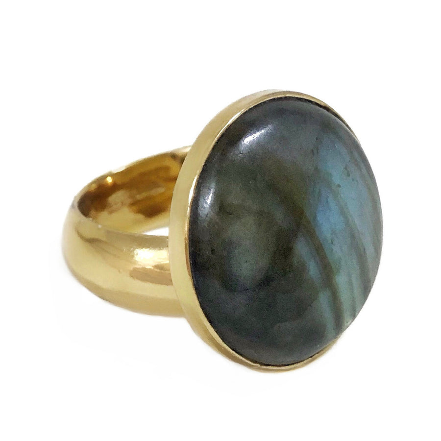 Round labradorite adjustable ring in gold alchemia on white backdrop