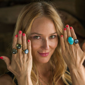 Jewel wearing Songlines handmade collection rings
