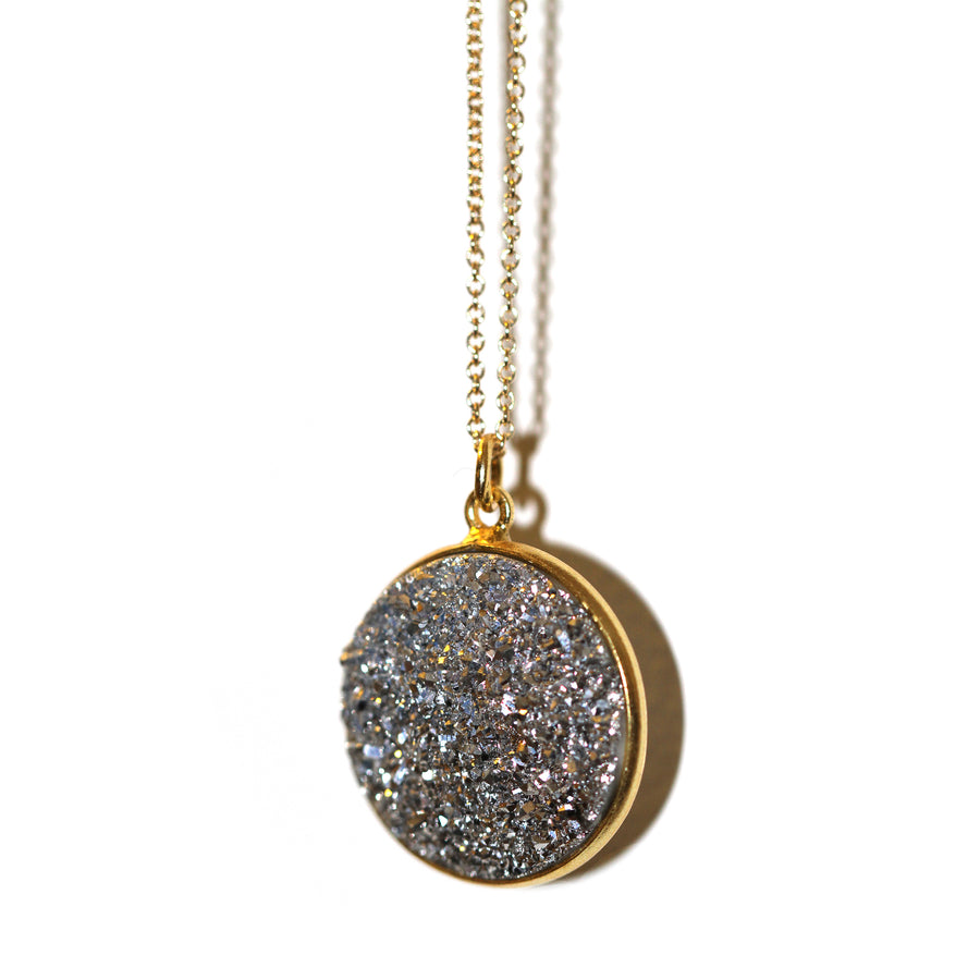 Black druzy gold vermeil medallion pendant on gold fill chain on white backdrop