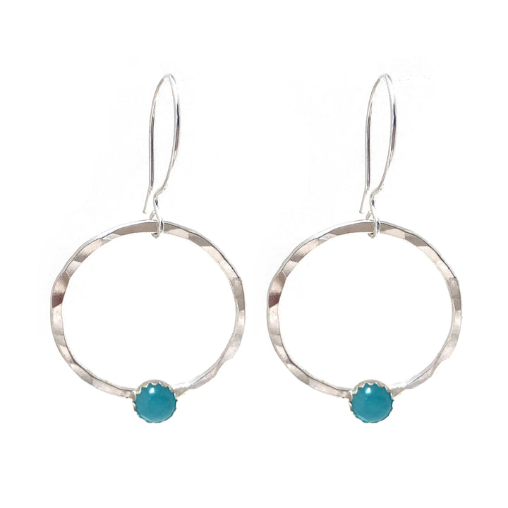 Sterling silver hammered hoop earrings with amazonite stone accent