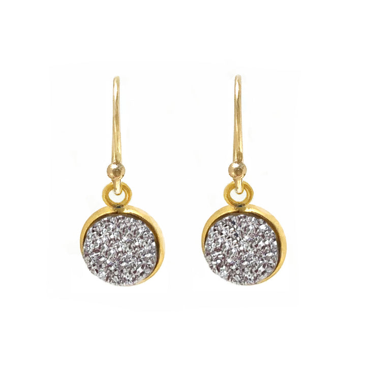Silver druzy dangling gold vermeil medallion earrings on gold plated ear wires