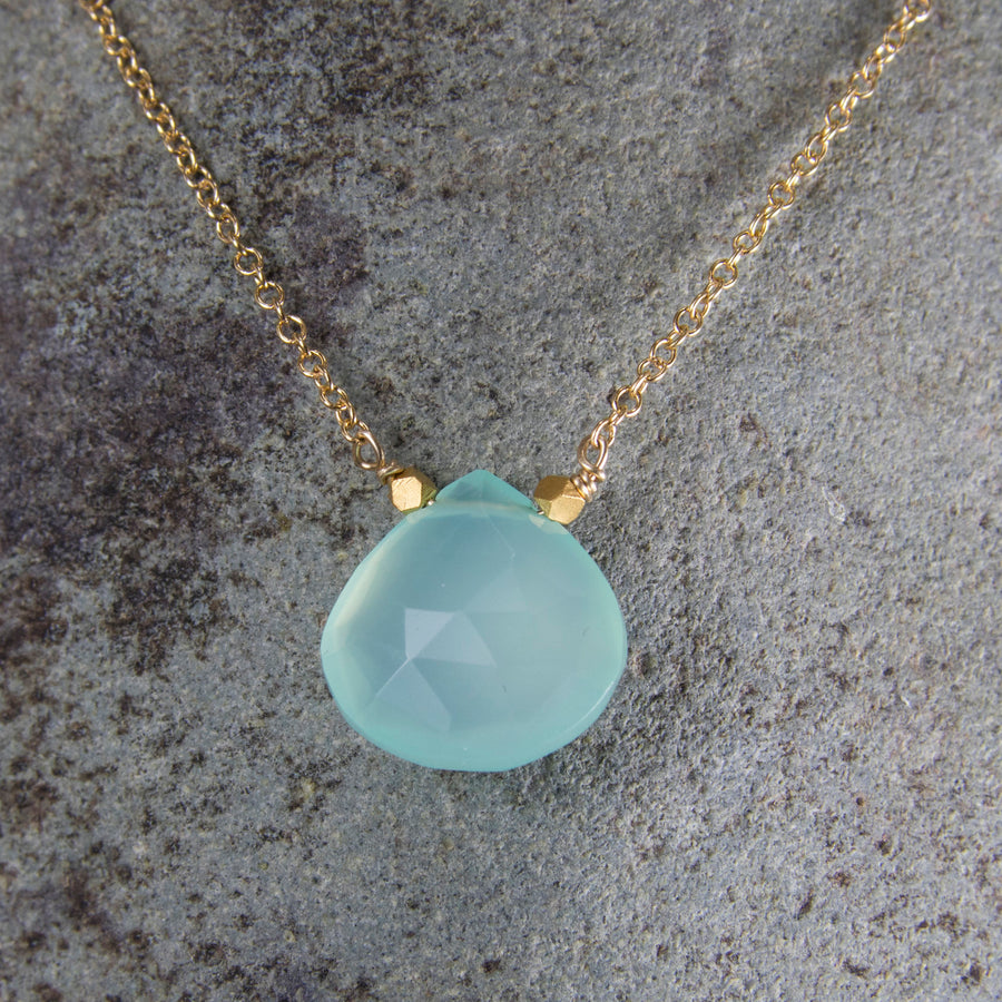 Songlines by Jewel aqua chalcedony pendant on gold fill chain