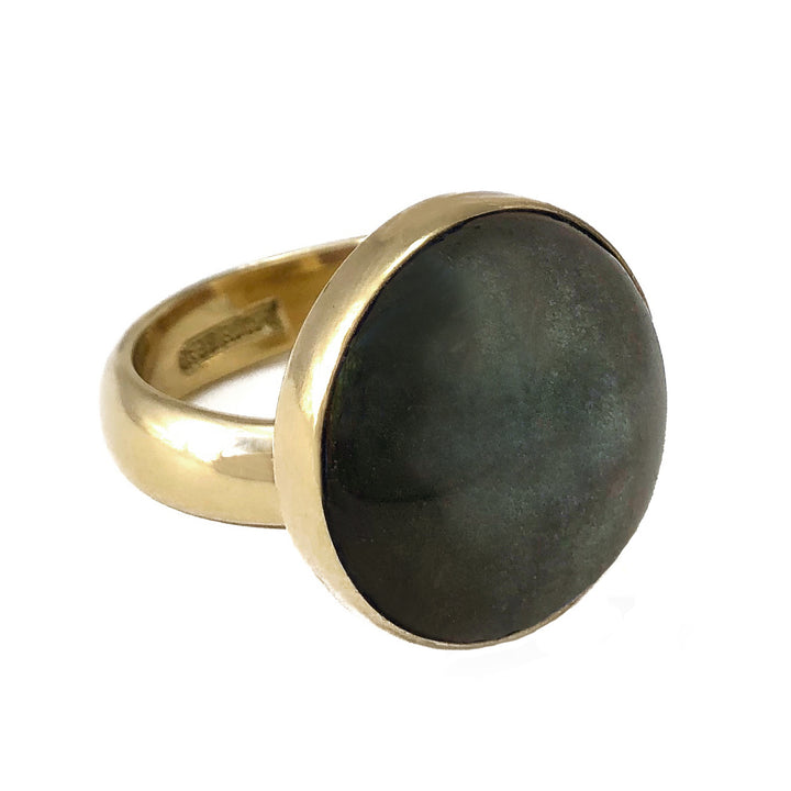 Golden Sheen Obsidian stone adjustable ring on zero carat gold alchemia.