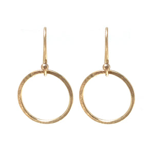 Hammered gold fill dangling hoop earrings on gold fill ear wires