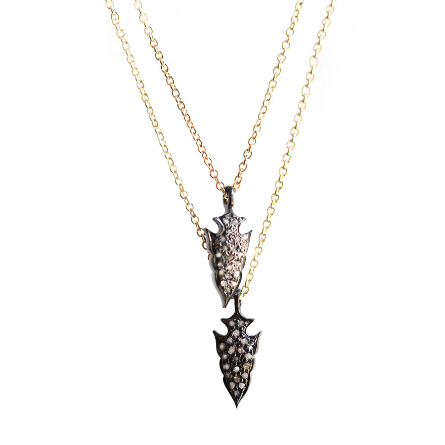 Double diamond arrowheads on a gold fill or sterling chain.