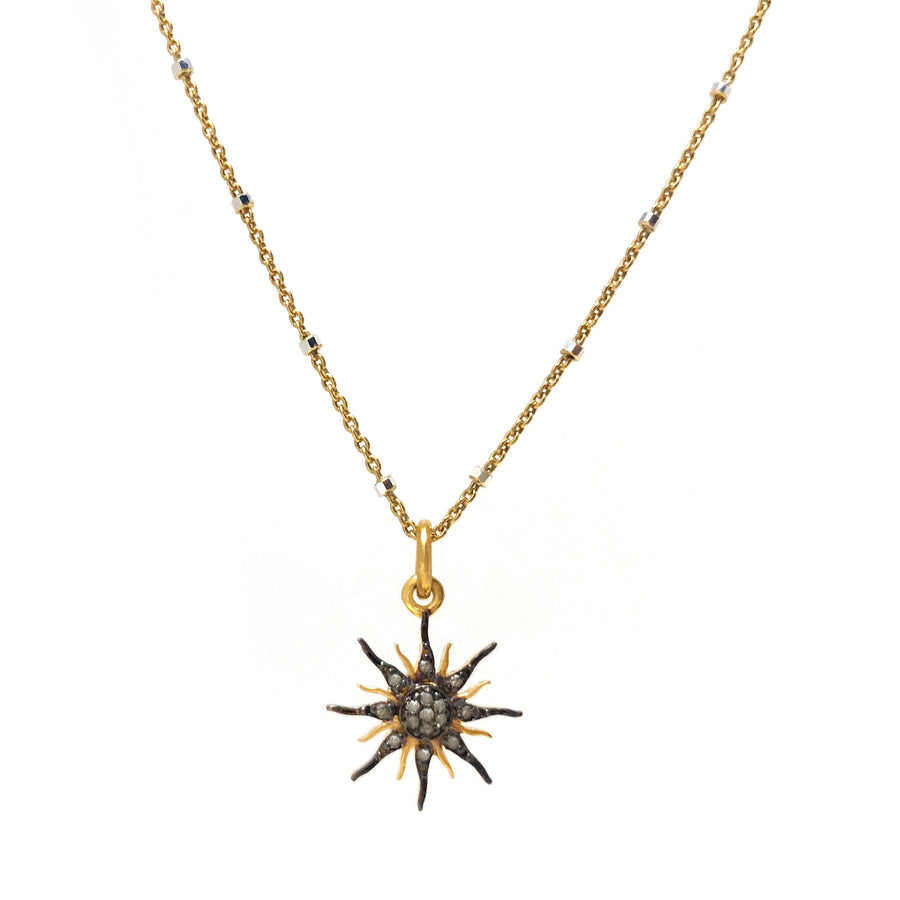 Pave diamond sun charm necklace in gold vermeil