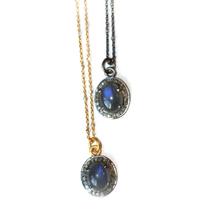 Labradorite and Pave Diamond Pendants on gold vermeil and oxidized sterling chains
