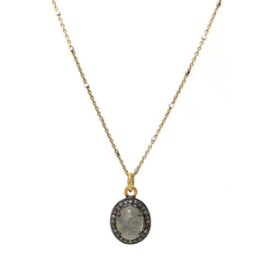 Labradorite and Pave Diamond Pendant on gold vermeil chain
