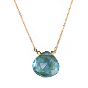Blue quartz pendant on gold fill chain