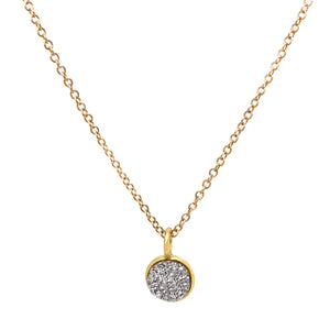 Silver druzy pendant on gold fill chain