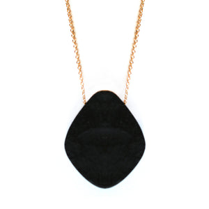 Rare black jade stone necklace on gold fill chain