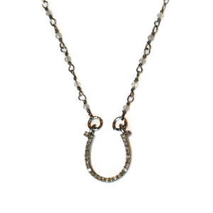 Pave Diamond Horseshoe Pave diamond horseshoe on labradorite and oxidized sterling silver chain.