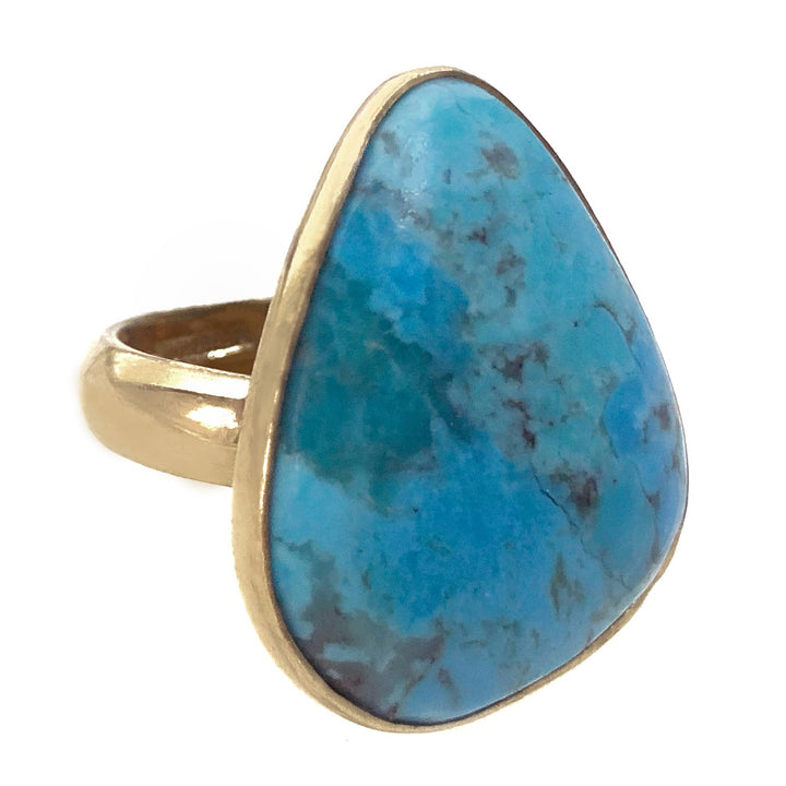 Turquoise stone ring in gold alchemia
