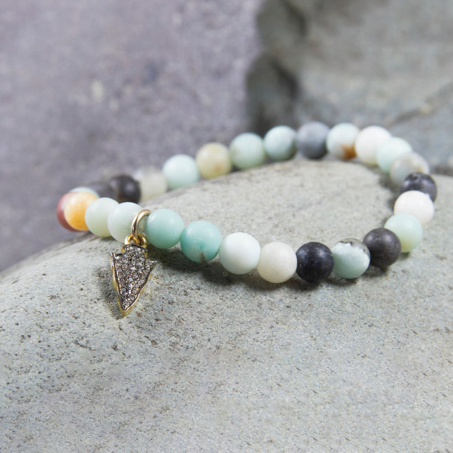 Matte finished amazonite bead bracelet w/ pave diamond arrowhead charm